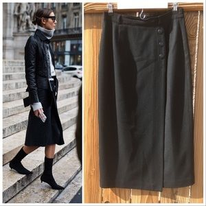 Vintage black wool high waisted midi skirt